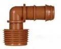 Steckverbinder für Tropfrohre,Winkel-Anschluss-Stück braun 16 mm x 3/4 ag